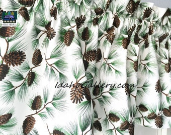 Winter Pine Cone Glittered Little Curtain Holiday Christmas Decor Valance