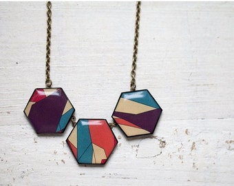Geometric Necklace - Geometry jewelry - Color Blocking (BN021)