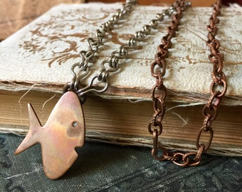 Patina Copper Fish Mixed Metal Copper and Silver Vintage Chain Long Necklace