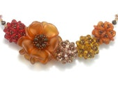 Chunky Beaded Red, Orange, and Gold 22 Inch Necklace - Harvest