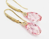 Wedding Bridesmaids Bridal Rose Pink Earrings Gold Cubic Zirconia Swarovski Crystal Briolette Teardrop Dangle