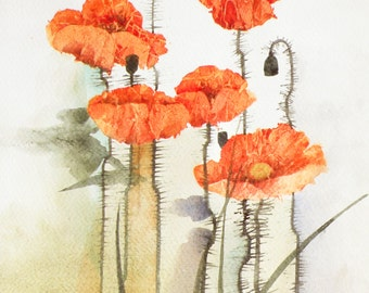 Poppies  - original watercolor painting, 23x30,5 cm