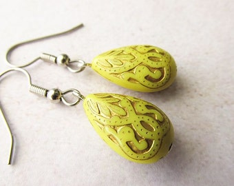Yellow and Gold Etched Lucite Drop Earrings, Simple Everyday Wear Jewellery for Women, Stainless Steel Hooks