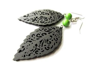 Dark Brown Wooden Leaf Earrings with Green Stone Earrings . Nature Hippie