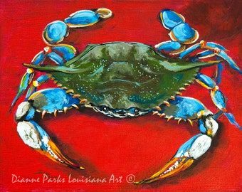 Louisiana Blue Crab, Louisiana Seafood Art, Gulf of Mexico Blue Crab, Louisiana Crab, Louisiana Art, GICLÉE Canvas or Print FREE SHIPPING