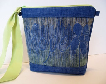 Blue Hope Bag, Bag with word, Blue and Lime, Gift of Hope, Word Bag, Denim Blue zipper pouch, Pretty Blue Bag