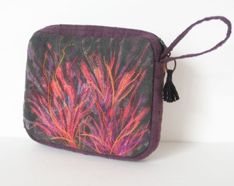 Purple clutch embroidered orange red pink on black bag loop handle zipper pouch