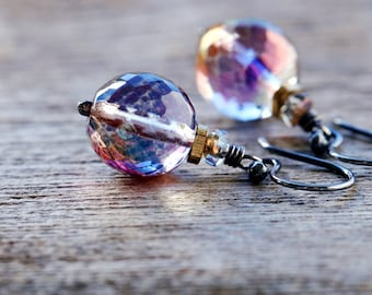 Aurora Borealis Czech Glass Beaded Earrings