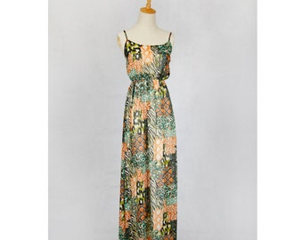 animal prints chiffon maxi dress sleeve-less summer wear