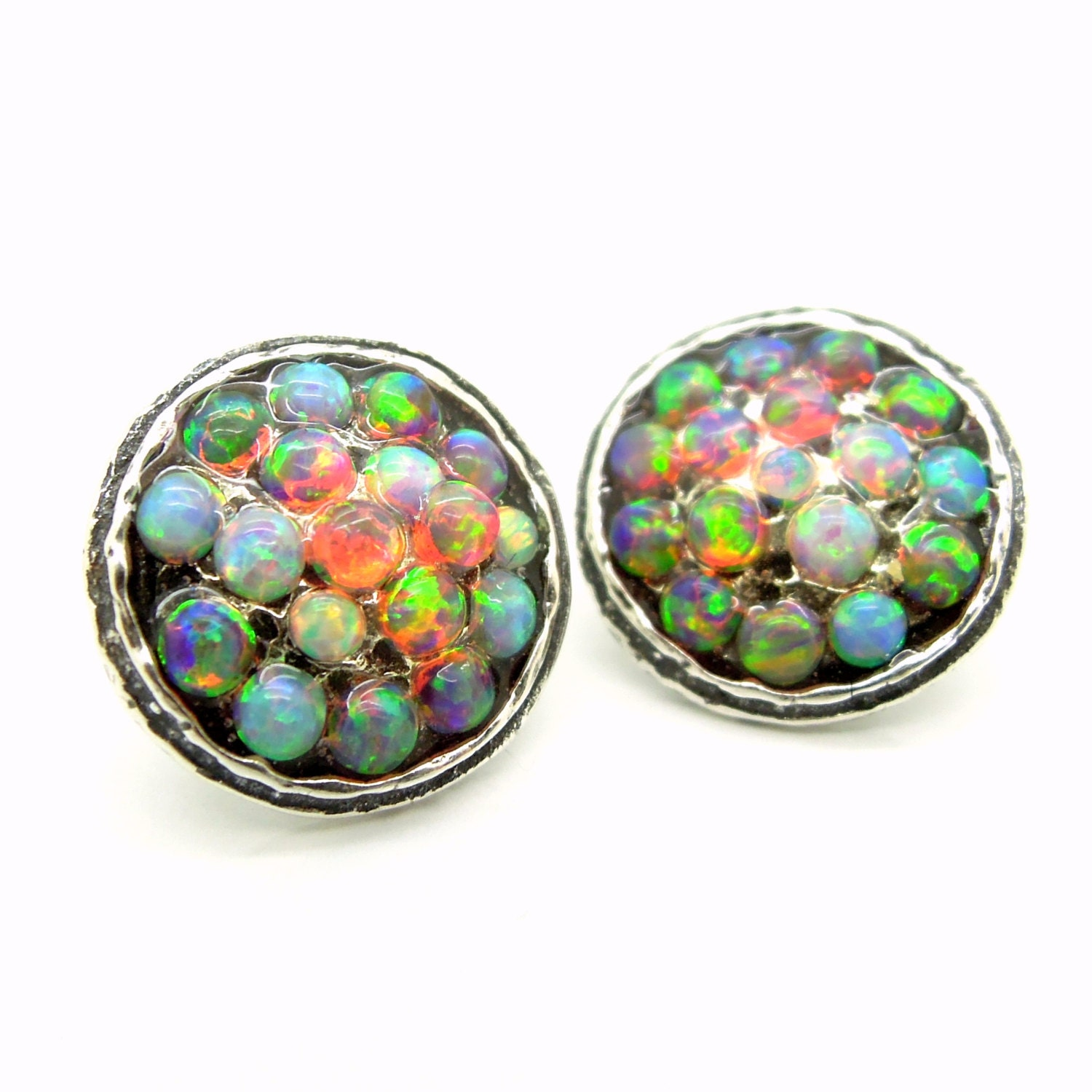opal stud earrings mosaic fire and blue opal set in sterling. Black Bedroom Furniture Sets. Home Design Ideas
