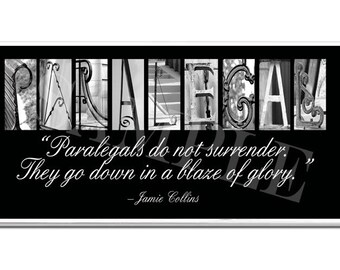 PARALEGAL  Inspirational Plaque black & white letter art