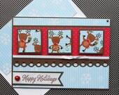 Holiday Card with Matching Embellished Envelope - Reindeer Squares