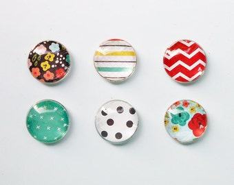 "1"" Round Super Strong Glass Magnets, Set of 6: Color Pop Dots - Life in Color"