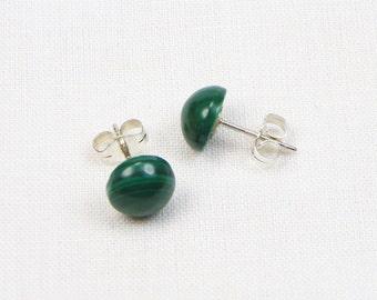 Malachite Sterling Silver Earrings - 8MM - Stud - Cabochon - Gemstone - Gift