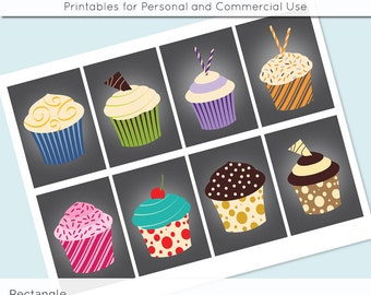 """Cupcake Digital Collage Sheet 2.5"""" x 3.5"""" Rectangle Images ATC ACEO Magnets Card Jewelry Holder Hang Tag Journaling Scrapbooking"""