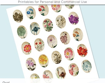 Digital Collage Sheet Oval Vintage Flower Postcard  30x40 22x30 18x25 13x18  Digital Collage Images for Glass and Resin Pendants Cameos