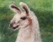 """064 """"Llama""""  Thyme Tile Needle Felting Pattern Kit"""
