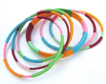 Colorful Stacking Bangles - Set of 6 Handmade Wrapped Bracelets