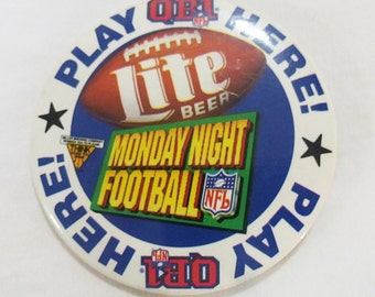 Vintage lite beer monday night football NFL button pinback