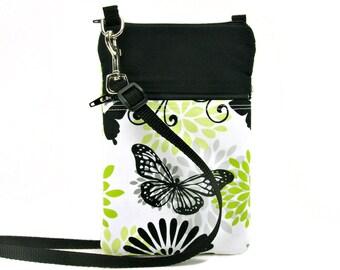 Fabric Sling Bag, Small, Black, White, Green, Butterfly Purse, Mini Hipster, Crossbody Bag, Zipper, Gadget, Travel Purse, Pouch, Butterflies
