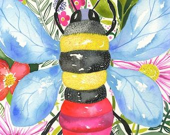 Jelly Bee... original watercolor... 9 in x 12 in...