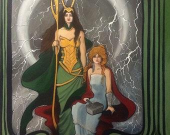 Art Nouveau Lady Thor and Loki
