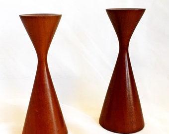 Vintage Pair - Mid Century Modern - Danish - Candle Sticks - Wood - Holder
