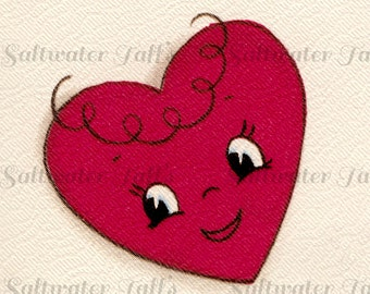 Cute Valentine Heart With Face Digital Downloads  Image Vintage Card anthropomorphic heart image 1.50 downloads jpg  love red heart