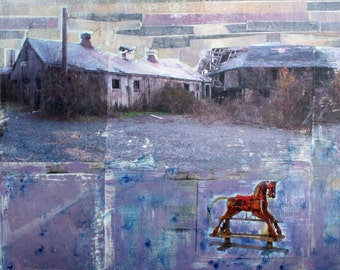 Rocking Horse, Farm, Color Photograph, Print, Wall Decor, 8 x 8, Barn, Purple, Abandoned, Farm House, Country, Rustic