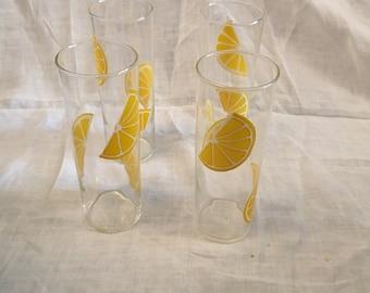 Set of 6 Vintage Lemon Tumblers