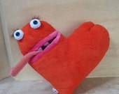 Heart , funny monster pillow, red plush toy monster, home decoration, Valentines gift