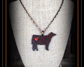 Rustic Metal Show Steer With Chain Necklace