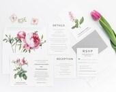 Wedding Invitation, Modern Botanical Wedding Collection, Pink and Black Wedding Themed Invitations