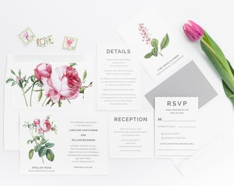 Botanical Invitations - Botanical Wedding Invitation - Wedding Announcement - Floral Wedding Invitation - Spring Wedding Invitation Suite