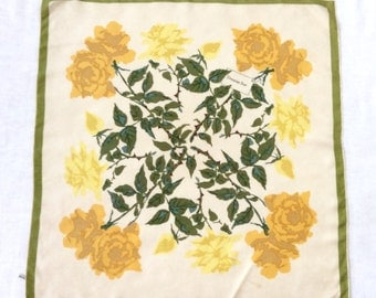 Christian Dior Silk Scarf Yellow Roses Green Border