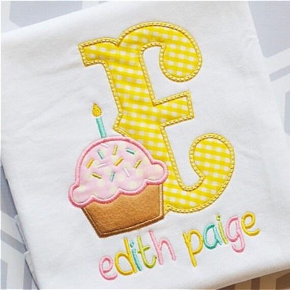 Cupcake birthday shirt, Girls Cupcake Birthday shirt, Girls Initial Shirt