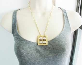 Vintage gold and silver window necklace (K8)