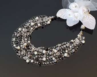 Black Necklace, Beaded Necklace, Black Pearl Necklace, Black Jewelry, Silver Necklace, Black and White Necklace, Wedding Necklace, Handmade