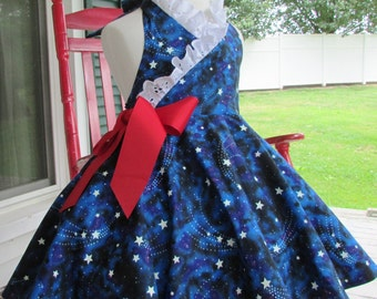 Girl glow in the dark halter dress fourth of July