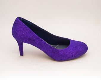 Glitter | Passion Purple High Heels Pumps Custom Shoes