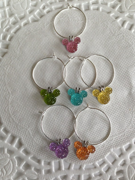 Disney Shower Wine Charms Jewel-Pastel Mickey Mouse Ears Shower Present-Kitchen Accessory