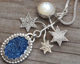 Blue druzy necklace pendant sterling silver star full moon mother of pearl drusy necklace celestial jewelry unusual contemporary bohemian