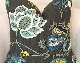 Gray Blue Pillow Cover Decorative Pillow Throw Pillow Cushion Accent Pillow Floral Gray Pillow