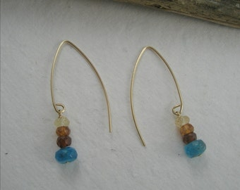 Earth and Sky Gold Filled Earrings