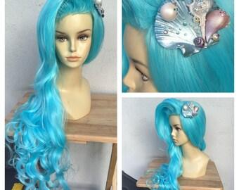 Pastel Ocean Blue Mermaid Wig with Seashell Hair Clip