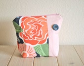 Cosmetics Pouch with Button Zipper Pouch Toiletries Bag Coral Rose Pink