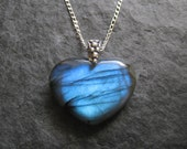 SALE - Awesome Intense Blue Heart Shaped Labradorite Pendant Necklace with Sterling Silver Chain