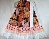 Girls Dress Size 2T/3T Pink Pigs Piglets Brown Coral Boutique Pillowcase Dress