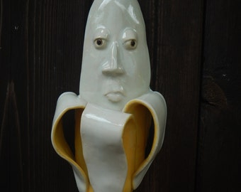 Banana Face Ceramic Mask-Home decor
