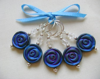 Blue Hematite Rose Stitch Markers for Knitting or Crochet